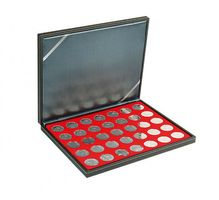 NERA M coin case with a light red insert with 35 ound compartments. Suitable for coins with Ø of 32,5 mm, e.g. 10 and 20 EURO silver coins GERMANY.  – Bild 1