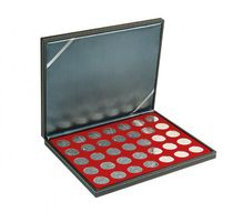 NERA M coin case with a dark red insert with 35 ound compartments. Suitable for coins with Ø of 32,5 mm, e.g. 10 and 20 EURO silver coins GERMANY.  – Bild 1