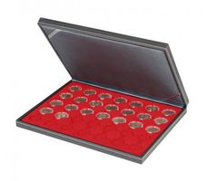 NERA M coin case with a light red insert with 35 ound compartments. Suitable for coins or coin capsules with Ø of 32 mm, e.g. for 2 EURO coins in LINDNER coin capsules.  – Bild 1