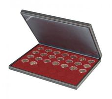 NERA M coin case with a dark red insert with 35 ound compartments. Suitable for coins or coin capsules with Ø of 32 mm, e.g. for 2 EURO coins in LINDNER coin capsules.  – Bild 1