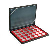 Münzkassette NERA M mit hellroter Münzeinlage mit 30 runden Vertiefungen für Münzkapseln mit Außen-Ø 37,5 mm, z.B. für orig. verkapselte deutsche 20 Euro-/10 Euro-Silbermünzen in Spiegelglanz – Bild 1