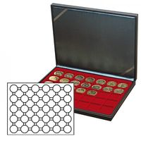 NERA M coin case with a dark red insert with 30 round compartments. Suitable for coin capsules with Ø of 37,5 mm, e.g. for 10 or 20 EURO silver coins GERMANY (PL) in original capsules.  – Bild 2