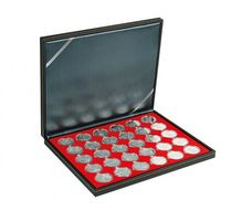 NERA M coin case with a light red insert with 30 round compartments. Suitable for coin capsules with Ø of 39,5 mm, e.g. for 10 or 20 EURO silver coins GERMANY in LINDNER coin capsules.  – Bild 1