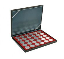 NERA M coin case with a dark red insert with 30 round compartments. Suitable for coin capsules with Ø of 39,5 mm, e.g. for 10 or 20 EURO silver coins GERMANY in LINDNER coin capsules.  – Bild 1