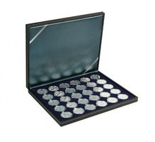 NERA M coin case with a dark blue insert with 30 round compartments. Suitable for coin capsules with Ø of 39,5 mm, e.g. for 10 or 20 EURO silver coins GERMANY in LINDNER coin capsules.  – Bild 1