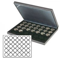 NERA M coin case with a black insert with 30 round compartments. Suitable for coin capsules with Ø of 39,5 mm, e.g. for 10 or 20 EURO silver coins GERMANY in LINDNER coin capsules.  – Bild 2