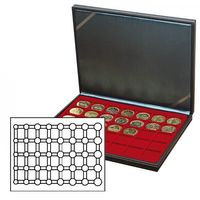 NERA M coin case with a dark red insert. Suitable for 5 EURO coin sets in LINDNER coin capsules.  – Bild 1