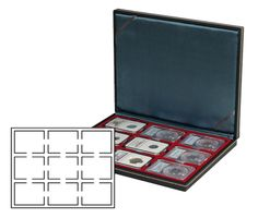 NERA M coin case with a dark red insert. Suitable for 9 slabs up to a size of 63 x 85 mm.  – Bild 1