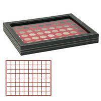 Münzkassette NERA M PLUS mit hellroter Münzeinlage mit 80 quadratischen Fächern für Münzen/Münzkapseln bis Ø 24 mm  – Bild 1