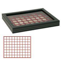 Кассета NERA M PLUS с тёмно-красным планшетом на 80 квадратных ячеек для размещения монет/монетных капсул диаметром до 24 мм  – Bild 1