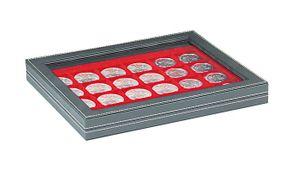 Кассета NERA M PLUS со светло-красным планшетом на 24 квадратные ячейки для размещения монет/монетных капсул диаметром до 42 мм  – Bild 1