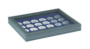 NERA M PLUS coin case with a dark blue insert with 24 square compartments. Suitable for coins or coin capsules with Ø up to 42 mm.  – Bild 1