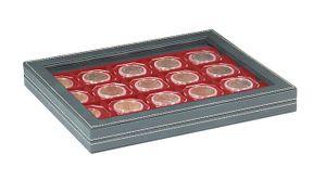 Кассета NERA M PLUS с тёмно-красным планшетом для размещения 20 монетных рамок 50х50 мм/ монетных капсул CARRÉE/ монетных капсул OCTO – Bild 1