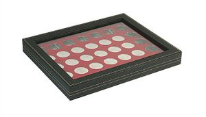 NERA M PLUS coin case with a dark red insert with 35 ound compartments. Suitable for coins with Ø of 32,5 mm, e.g. 10 and 20 EURO silver coins GERMANY.  – Bild 1