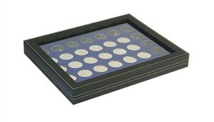 NERA M PLUS coin case with a dark blue insert with 35 ound compartments. Suitable for coins with Ø of 32,5 mm, e.g. 10 and 20 EURO silver coins GERMANY.  – Bild 1