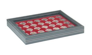 NERA M PLUS coin case with a dark red insert with 35 ound compartments. Suitable for coins or coin capsules with Ø of 32 mm, e.g. for 2 EURO coins in LINDNER coin capsules.  – Bild 1