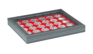 NERA M PLUS coin case with a light red insert with 30 round compartments. Suitable for coin capsules with Ø of 37,5 mm, e.g. for 10 or 20 EURO silver coins GERMANY (PL) in original capsules.  – Bild 1