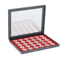 Cassetta per monete NERA M PLUS con inserto per monete rosso chiaro con 30 incavature per capsule per monete con Ø 37,5 mm, per es. per monete in argento fondo specchio 20 Euro/10 Euro in capsule originali. – Bild 2
