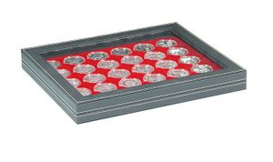 NERA M PLUS coin case with a light red insert with 30 round compartments. Suitable for coin capsules with Ø of 39,5 mm, e.g. for 10 or 20 EURO silver coins GERMANY in LINDNER coin capsules.  – Bild 1