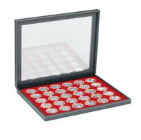 NERA M PLUS coin case with a light red insert with 30 round compartments. Suitable for coin capsules with Ø of 39,5 mm, e.g. for 10 or 20 EURO silver coins GERMANY in LINDNER coin capsules.  – Bild 2