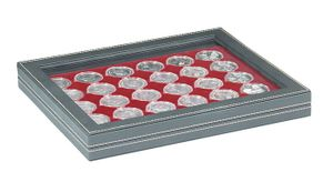 NERA M PLUS coin case with a dark red insert with 30 round compartments. Suitable for coin capsules with Ø of 39,5 mm, e.g. for 10 or 20 EURO silver coins GERMANY in LINDNER coin capsules.  – Bild 1