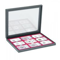 NERA M PLUS coin case with a dark red insert. Suitable for 9 slabs up to a size of 63 x 85 mm.  – Bild 2