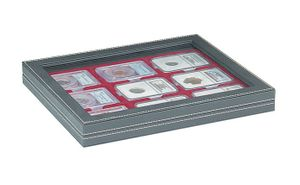 NERA M PLUS coin case with a dark red insert. Suitable for 9 slabs up to a size of 63 x 85 mm.  – Bild 1