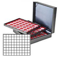 Münzkassette NERA XL mit 3 Tableaus und hellroten Münzeinlagen mit 240 quadratischen Fächern für Münzen/Münzkapseln bis Ø 24 mm  – Bild 1