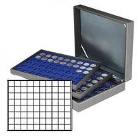 Münzkassette NERA XL mit 3 Tableaus und dunkelblauen Münzeinlagen mit 240 quadratischen Fächern für Münzen/Münzkapseln bis Ø 24 mm  – Bild 1