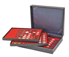 Coin case NERA XL with 3 trays and light red coin inserts with 144 rectangular compartments for coins/coin capsules up to Ø 30 mm or Champagner-Kapseln  – Bild 2