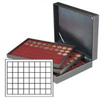 Münzkassette NERA XL mit 3 Tableaus und dunkelroten Münzeinlagen mit 144 quadratischen Fächern für Münzen/Münzkapseln bis Ø 30 mm oder Champagner-Kapseln – Bild 1
