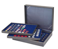 Coin case NERA XL with 3 trays and darkblue coin inserts with 144 rectangular compartments for coins/coin capsules up to Ø 30 mm or Champagner-Kapseln  – Bild 2