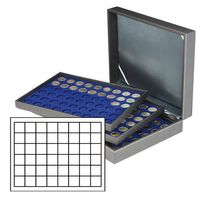 Coin case NERA XL with 3 trays and darkblue coin inserts with 144 rectangular compartments for coins/coin capsules up to Ø 30 mm or Champagner-Kapseln  – Bild 1
