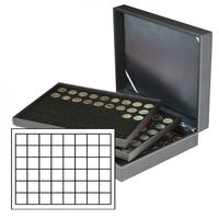 Coin case NERA XL with 3 trays and black coin inserts with 144 rectangular compartments for coins/coin capsules up to Ø 30 mm or Champagne capsules – Bild 1