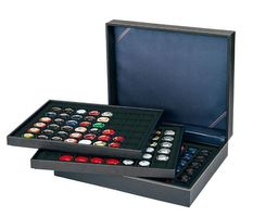 Coin case NERA XL with 3 trays and black coin inserts with 144 rectangular compartments for coins/coin capsules up to Ø 30 mm or Champagne capsules – Bild 2
