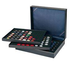 Münzkassette NERA XL mit 3 Tableaus und schwarzen Münzeinlagen mit 144 quadratischen Fächern für Münzen/Münzkapseln bis Ø 30 mm oder Champagner-Kapseln – Bild 2