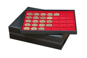Coin case NERA XL with 3 trays and light red coin inserts with 105 rectangular compartments for coins/coin capsules up to Ø 36 mm  – Bild 3