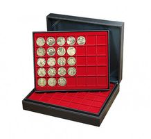 Coin case NERA XL with 3 trays and light red coin inserts with 105 rectangular compartments for coins/coin capsules up to Ø 36 mm  – Bild 2