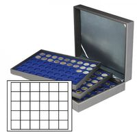 Coin case NERA XL with 3 trays and darkblue coin inserts with 90 rectangular compartments for coins/coin capsules up to Ø 38 mm  – Bild 1
