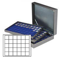 Münzkassette NERA XL mit 3 Tableaus und dunkelblauen Münzeinlagen mit 90 quadratischen Fächern für Münzen/Münzkapseln bis Ø 38 mm  – Bild 1