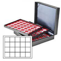 Münzkassette NERA XL mit 3 Tableaus und hellroten Münzeinlagen mit 60 quadratischen Fächern für Münzen/Münzkapseln bis Ø 47 mm  – Bild 1