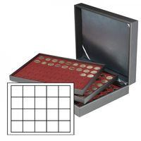 Coin case NERA XL with 3 trays and dark red coin inserts with 60 rectangular compartments for coins/coin capsules up to Ø 47 mm  – Bild 1