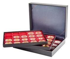 Münzkassette NERA XL mit 3 Tableaus und hellroten Münzeinlagen für 60 Münzrähmchen 50x50 mm/Münzkapseln CARRÉE/OCTO Münzkapseln – Bild 2