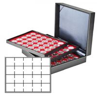 Coin case NERA XL with 3 trays and light red coin inserts for 60 Coin holders 50x50 mm/Coin capsules CARRÉE/OCTO Coin capsules – Bild 1