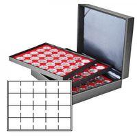 Münzkassette NERA XL mit 3 Tableaus und hellroten Münzeinlagen für 60 Münzrähmchen 50x50 mm/Münzkapseln CARRÉE/OCTO Münzkapseln – Bild 1