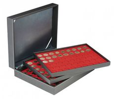 Coin case NERA XL with 3 trays and light red coin inserts for 162 coins with Ø 25,75 mm, e.g. for 2 EURO coins – Bild 1