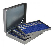 Coin case NERA XL with 3 trays and darkblue coin inserts for 162 coins with Ø 25,75 mm, e.g. for 2 EURO coins – Bild 1