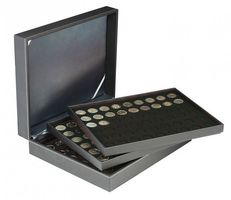 Coin case NERA XL with 3 trays and black coin inserts for 162 coins with Ø 25,75 mm, e.g. for 2 EURO coins – Bild 1