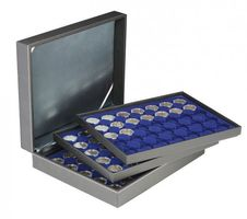 Coin case NERA XL with 3 trays and darkblue coin inserts for 105 coin capsules with external Ø 32 mm, e.g. for 2 Euro-Coins in LINDNER coin capsules – Bild 1