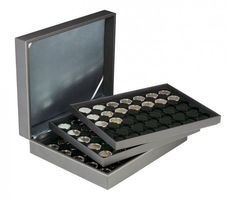 Coin case NERA XL with 3 trays and black coin inserts for 105 coin capsules with external Ø 32 mm, e.g. for 2 EURO coins in LINDNER coin capsules – Bild 1